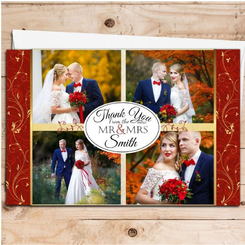 10 Personalised Premium Wedding Thank you Photo Cards N262